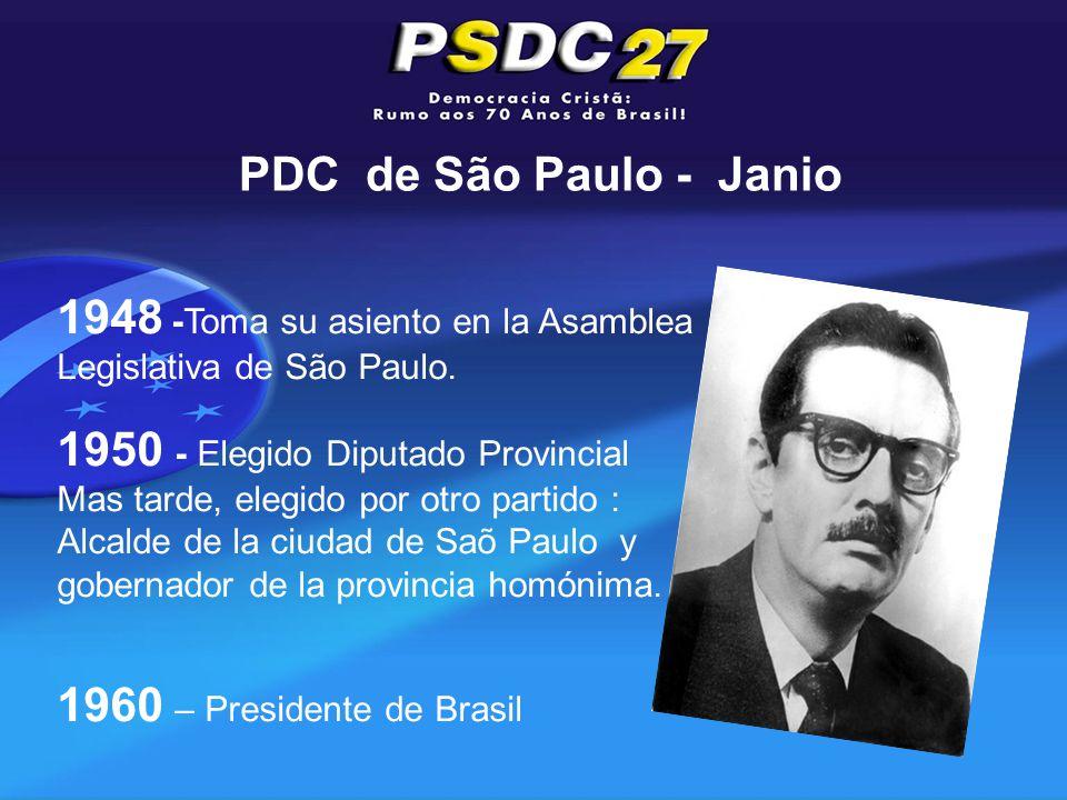 PDC de São Paulo - Janio 1948 -Toma su asiento en la Asamblea Legislativa de São Paulo.