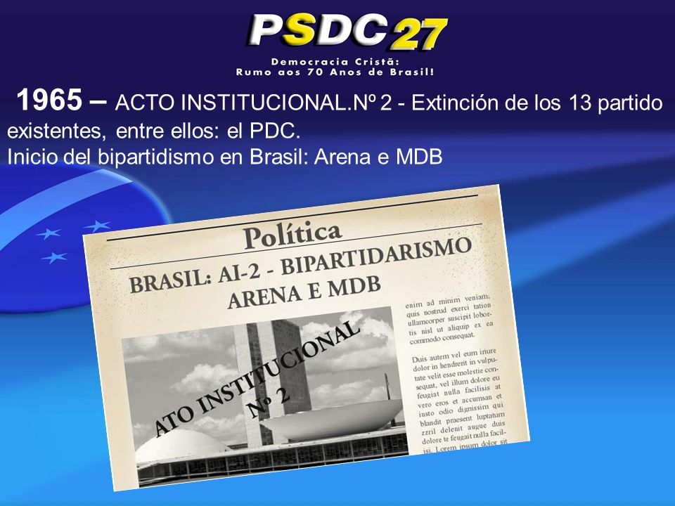 1965 – ACTO INSTITUCIONAL.Nº 2 - Extinción de los 13 partido existentes, entre ellos: el PDC.