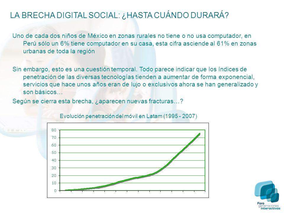 Uno de cada dos niños de México en zonas rurales no tiene o no usa computador, en Perú sólo un 6% tiene computador en su casa, esta cifra asciende al 61% en zonas urbanas de toda la región Sin embargo, esto es una cuestión temporal.