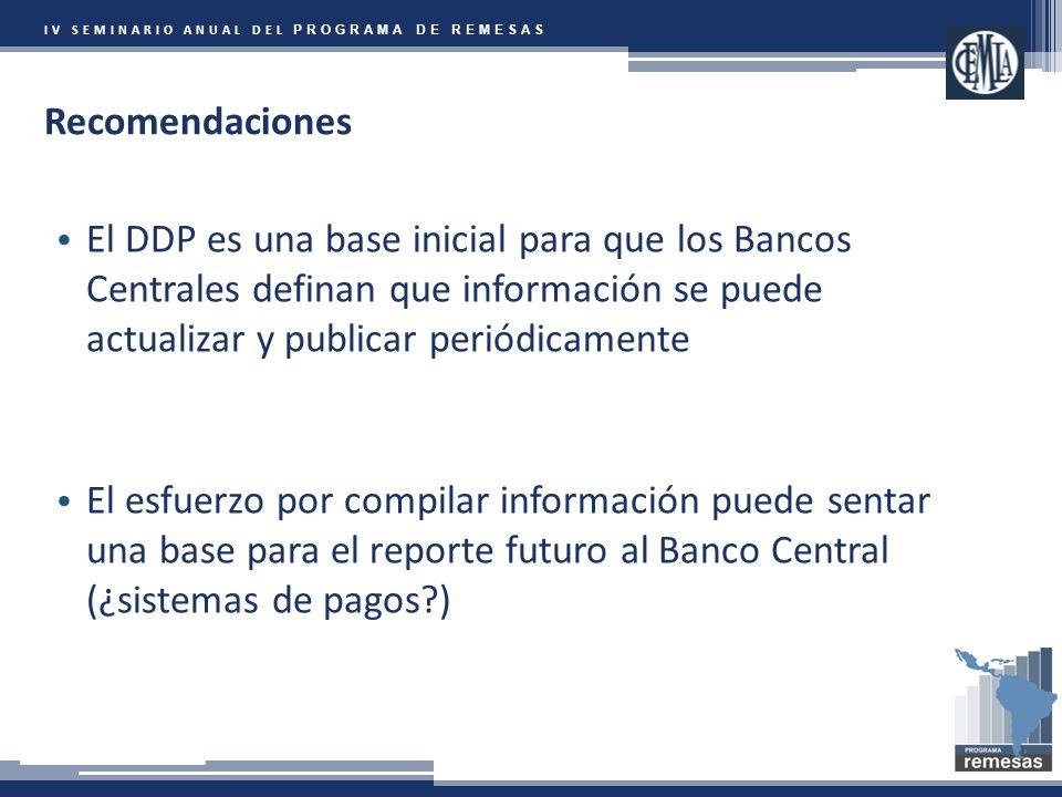 IV SEMINARIO ANUAL DEL PROGRAMA DE REMESAS Recomendaciones El DDP es una base inicial para que los Bancos Centrales definan que información se puede actualizar y publicar periódicamente El esfuerzo por compilar información puede sentar una base para el reporte futuro al Banco Central (¿sistemas de pagos )