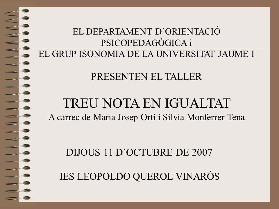 EL DEPARTAMENT D'ORIENTACIÓ PSICOPEDAGÒGICA i EL GRUP ISONOMIA DE LA UNIVERSITAT JAUME I PRESENTEN EL TALLER TREU NOTA EN IGUALTAT A càrrec de Maria Josep Ortí i Sílvia Monferrer Tena DIJOUS 11 D'OCTUBRE DE 2007 IES LEOPOLDO QUEROL VINARÒS