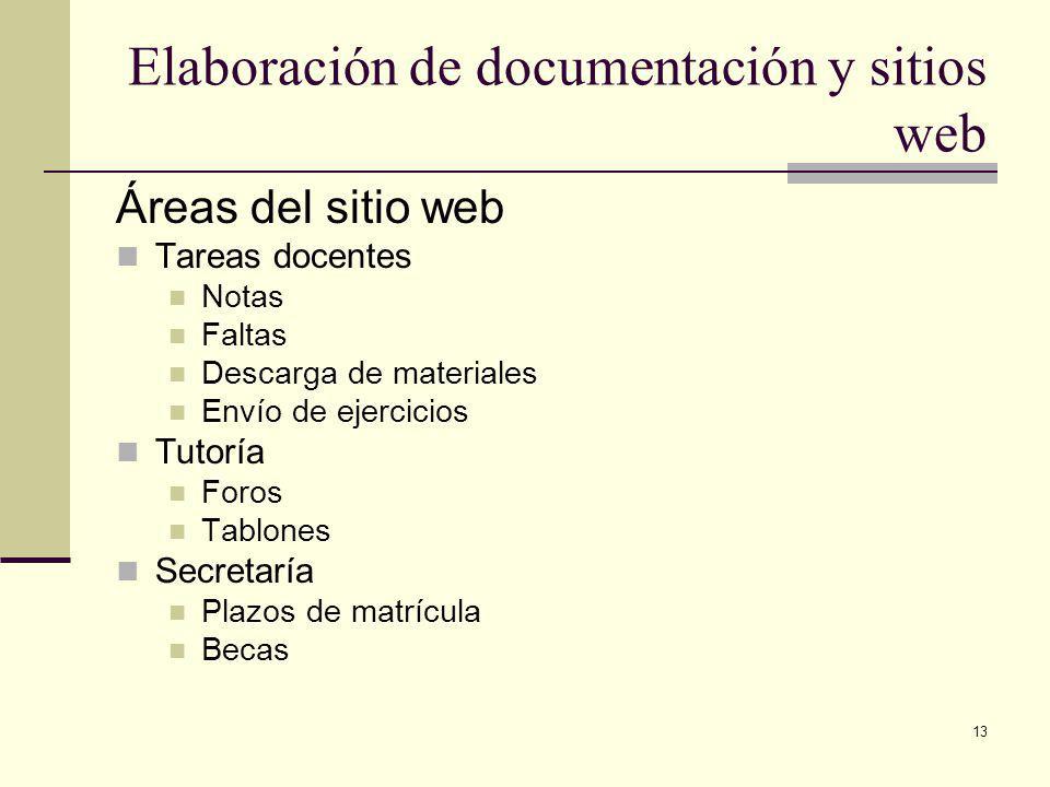 13 Elaboración de documentación y sitios web Áreas del sitio web Tareas docentes Notas Faltas Descarga de materiales Envío de ejercicios Tutoría Foros Tablones Secretaría Plazos de matrícula Becas