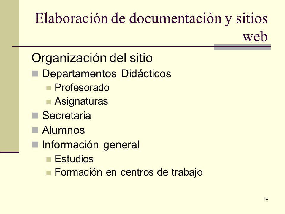 14 Elaboración de documentación y sitios web Organización del sitio Departamentos Didácticos Profesorado Asignaturas Secretaria Alumnos Información general Estudios Formación en centros de trabajo