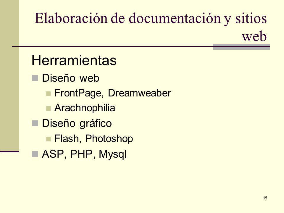15 Elaboración de documentación y sitios web Herramientas Diseño web FrontPage, Dreamweaber Arachnophilia Diseño gráfico Flash, Photoshop ASP, PHP, Mysql