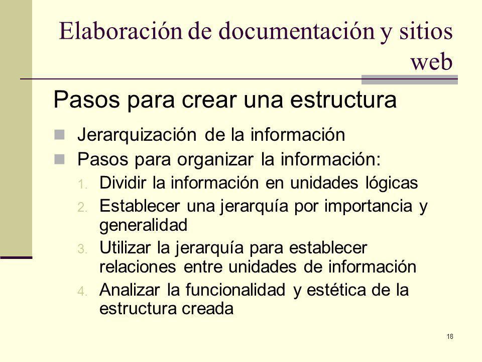 18 Elaboración de documentación y sitios web Pasos para crear una estructura Jerarquización de la información Pasos para organizar la información: 1.