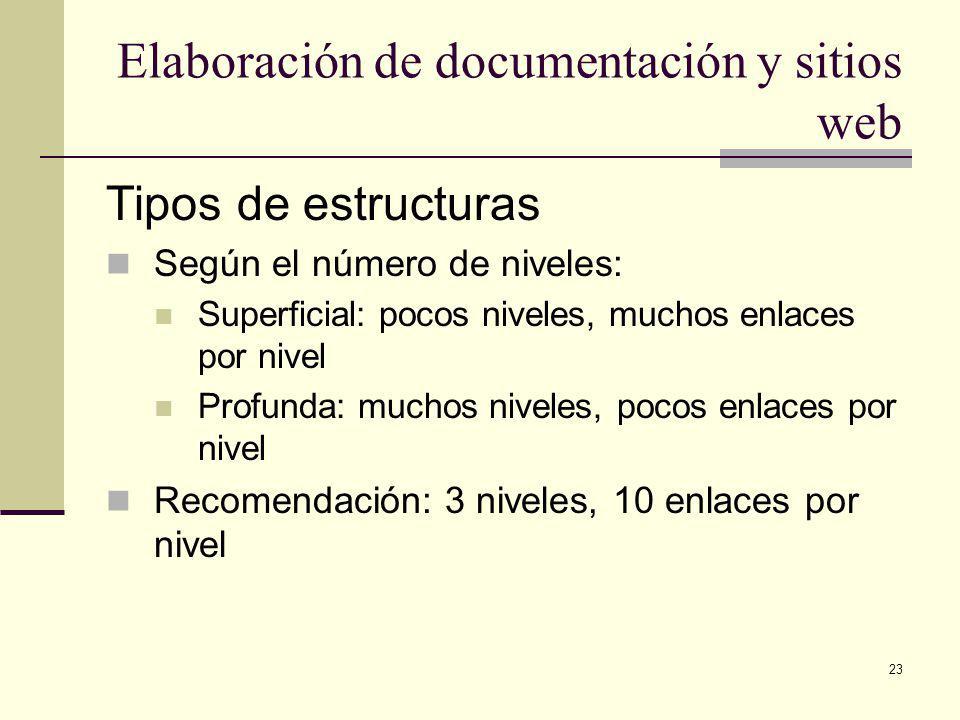 23 Elaboración de documentación y sitios web Tipos de estructuras Según el número de niveles: Superficial: pocos niveles, muchos enlaces por nivel Profunda: muchos niveles, pocos enlaces por nivel Recomendación: 3 niveles, 10 enlaces por nivel