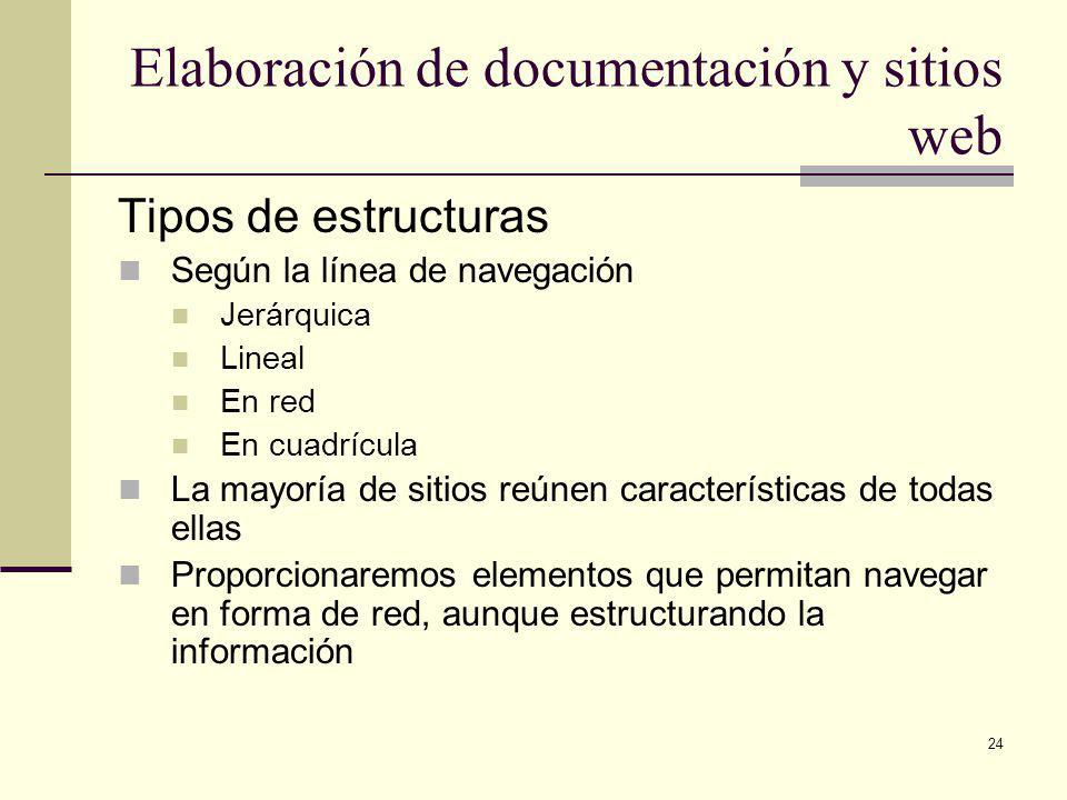 24 Elaboración de documentación y sitios web Tipos de estructuras Según la línea de navegación Jerárquica Lineal En red En cuadrícula La mayoría de sitios reúnen características de todas ellas Proporcionaremos elementos que permitan navegar en forma de red, aunque estructurando la información