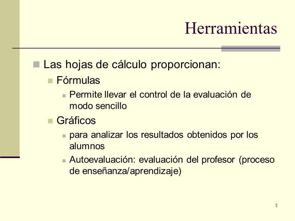 5 Herramientas Las hojas de cálculo proporcionan: Fórmulas Permite llevar el control de la evaluación de modo sencillo Gráficos para analizar los resultados obtenidos por los alumnos Autoevaluación: evaluación del profesor (proceso de enseñanza/aprendizaje)