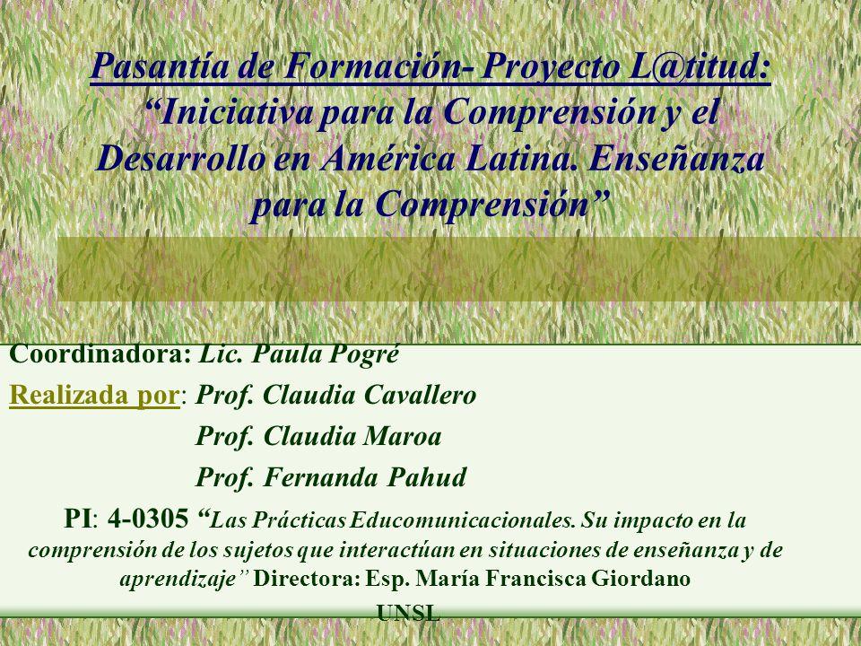 Pasantía de Formación- Proyecto L@titud: Iniciativa para la Comprensión y el Desarrollo en América Latina.