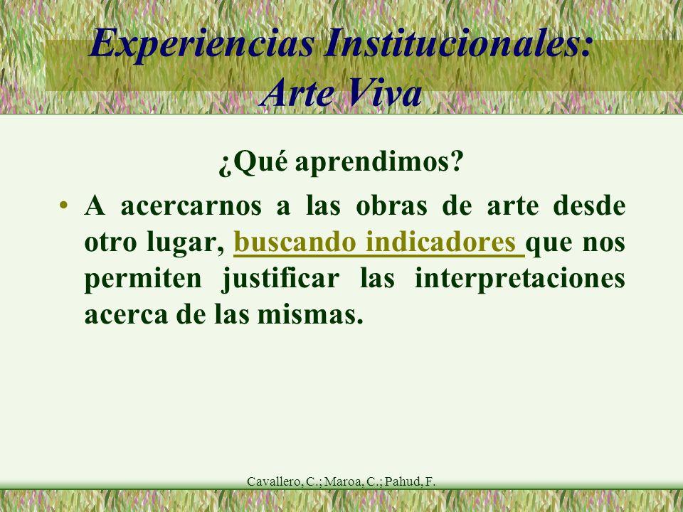 Cavallero, C.; Maroa, C.; Pahud, F. Experiencias Institucionales: Arte Viva ¿Qué aprendimos.