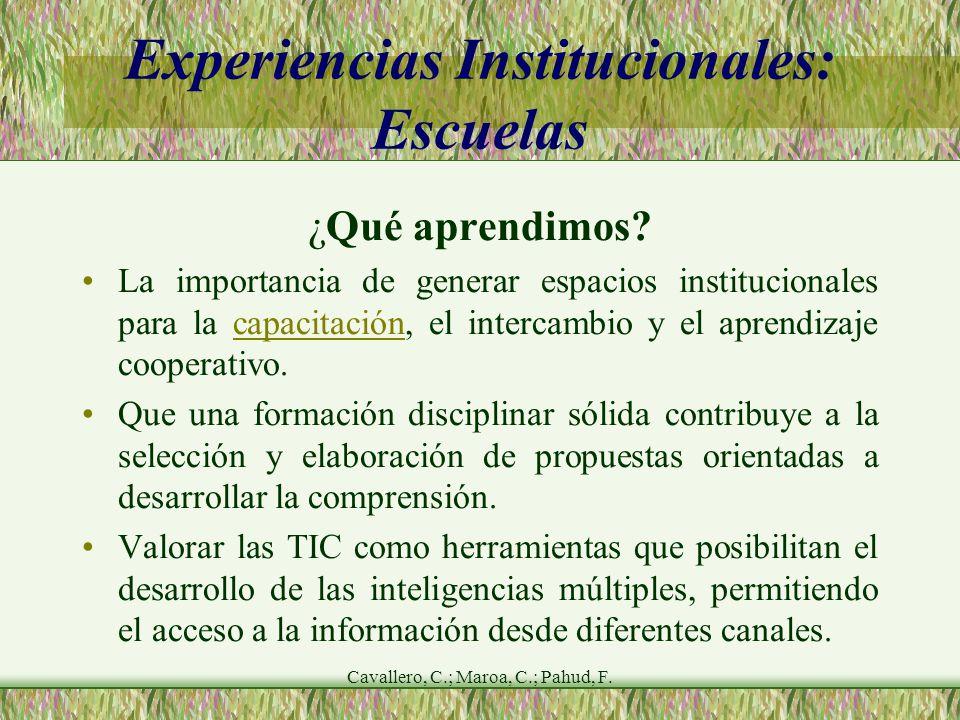 Cavallero, C.; Maroa, C.; Pahud, F. Experiencias Institucionales: Escuelas ¿Qué aprendimos.