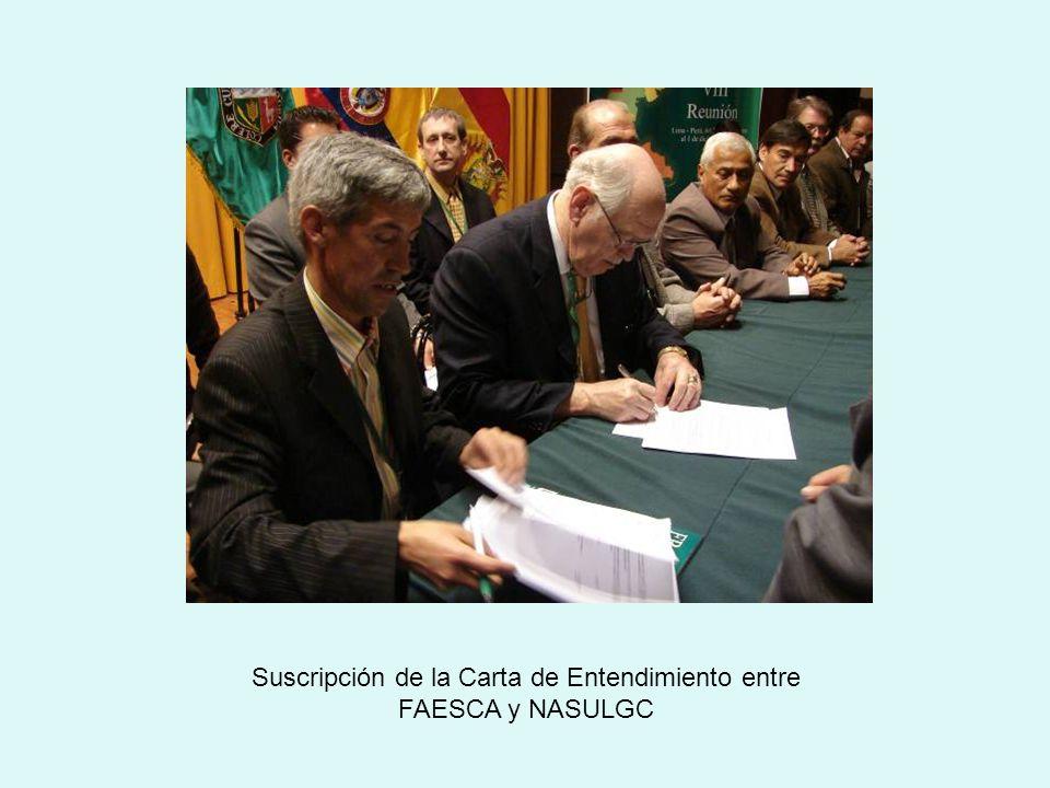 Suscripción de la Carta de Entendimiento entre FAESCA y NASULGC