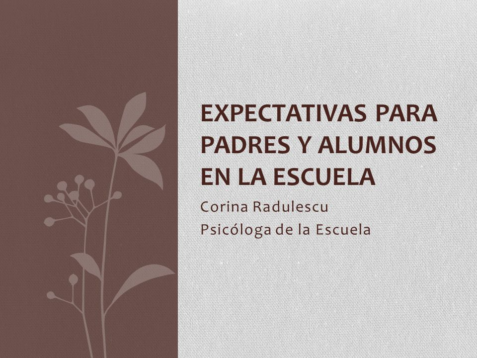 Corina Radulescu Psicóloga de la Escuela EXPECTATIVAS PARA PADRES Y ALUMNOS EN LA ESCUELA