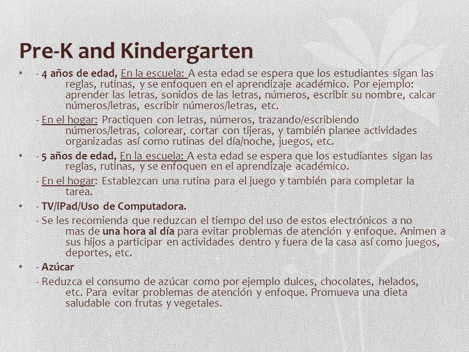 Pre-K and Kindergarten - 4 años de edad, En la escuela: A esta edad se espera que los estudiantes sigan las reglas, rutinas, y se enfoquen en el aprendizaje académico.