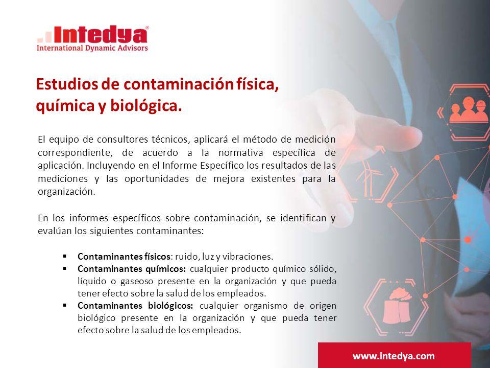 Estudios de contaminación física, química y biológica.