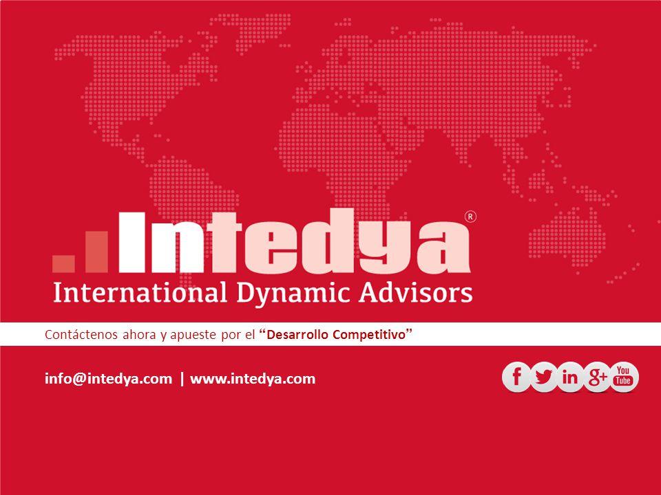 Contáctenos ahora y apueste por el Desarrollo Competitivo info@intedya.com | www.intedya.com