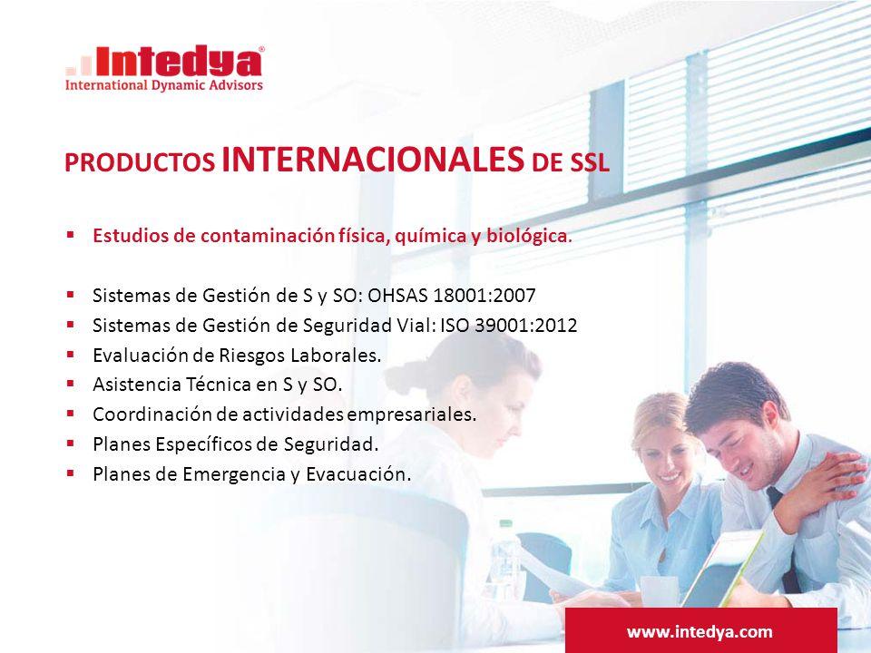 PRODUCTOS INTERNACIONALES DE SSL  Estudios de contaminación física, química y biológica.