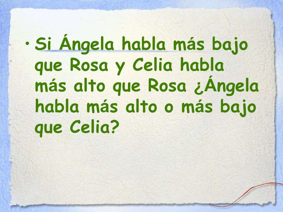 Si Á ngela habla m á s bajo que Rosa y Celia habla m á s alto que Rosa ¿Á ngela habla m á s alto o m á s bajo que Celia