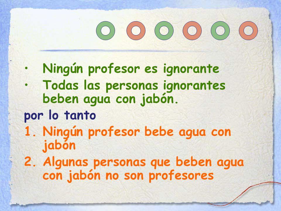 Ningún profesor es ignorante Todas las personas ignorantes beben agua con jabón.