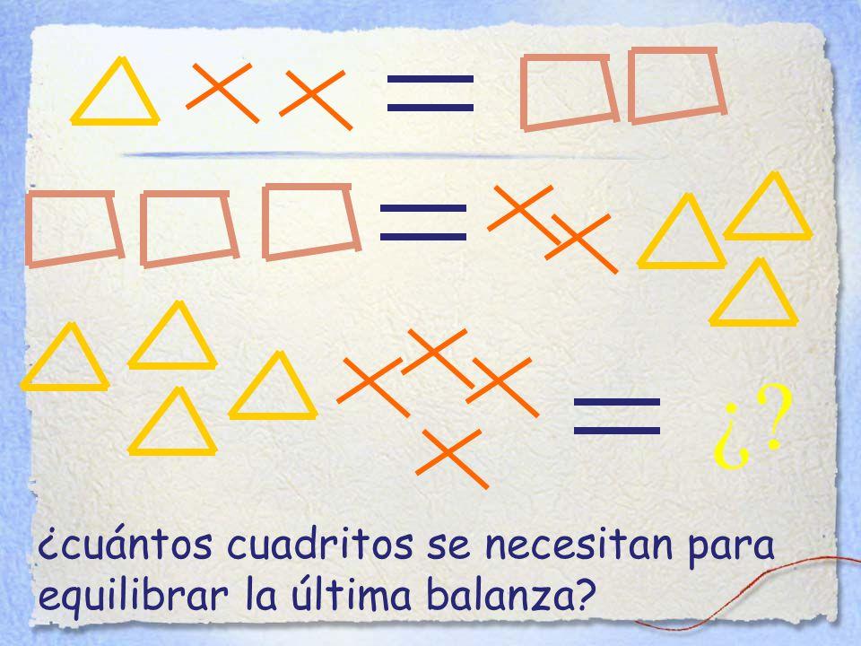 ¿ ¿cuántos cuadritos se necesitan para equilibrar la última balanza
