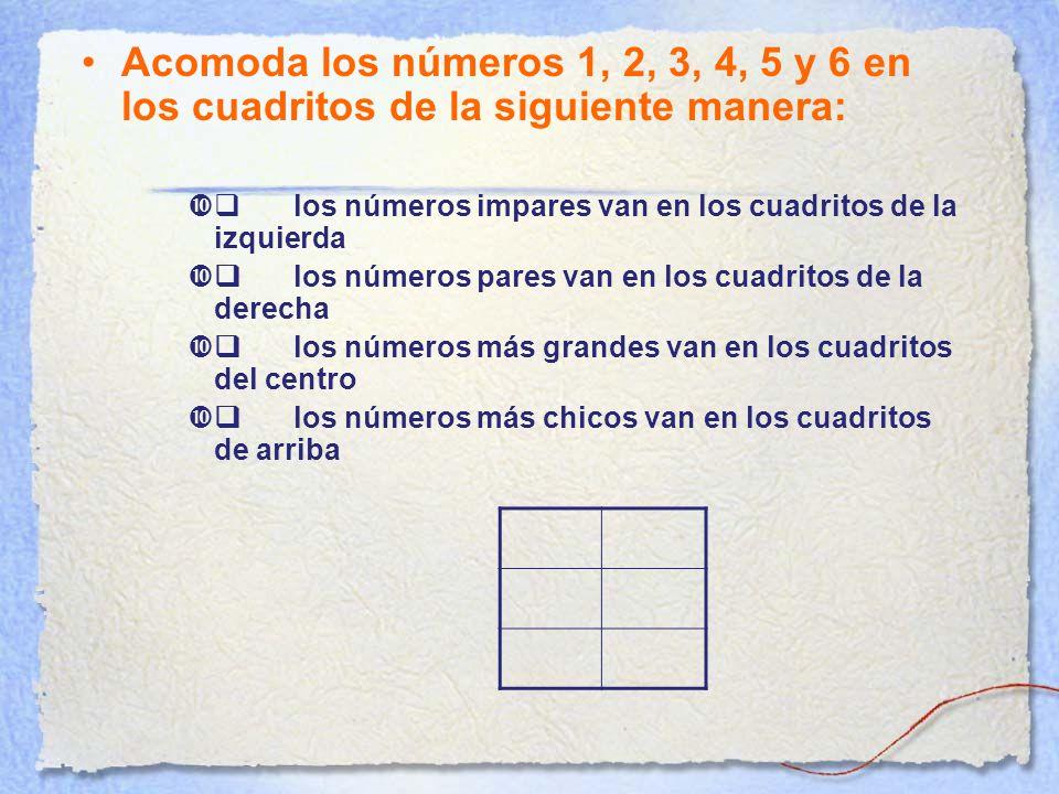 Acomoda los números 1, 2, 3, 4, 5 y 6 en los cuadritos de la siguiente manera:  los números impares van en los cuadritos de la izquierda  los números pares van en los cuadritos de la derecha  los números más grandes van en los cuadritos del centro  los números más chicos van en los cuadritos de arriba