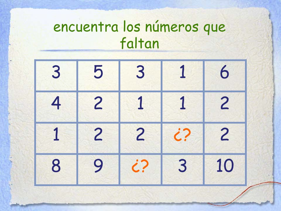 35316 42112 122¿ 2 89 310 encuentra los números que faltan