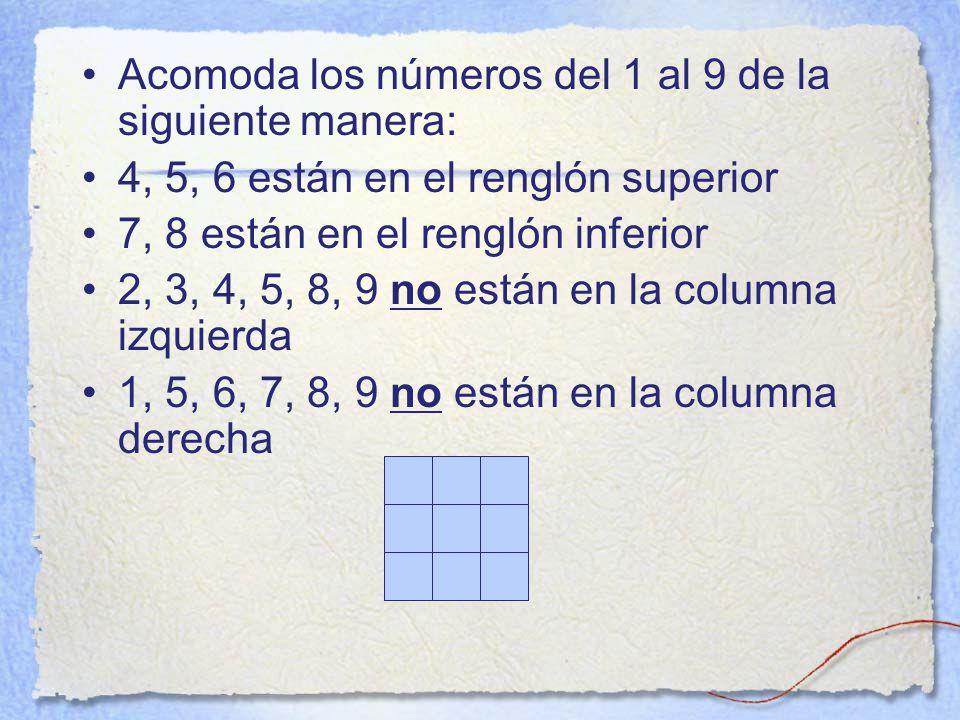 Acomoda los números del 1 al 9 de la siguiente manera: 4, 5, 6 están en el renglón superior 7, 8 están en el renglón inferior 2, 3, 4, 5, 8, 9 no están en la columna izquierda 1, 5, 6, 7, 8, 9 no están en la columna derecha
