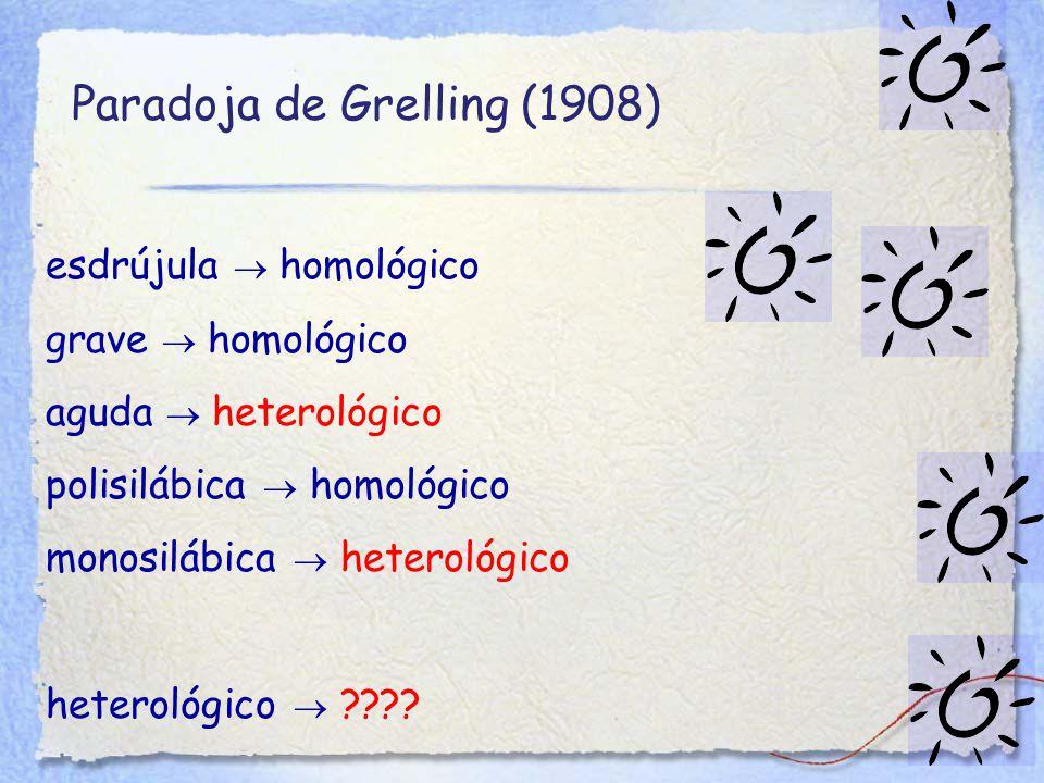 Paradoja de Grelling (1908) esdrújula  homológico grave  homológico aguda  heterológico polisilábica  homológico monosilábica  heterológico heterológico 