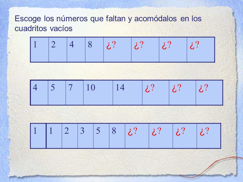 Escoge los números que faltan y acomódalos en los cuadritos vacíos 1248 ¿ ¿.