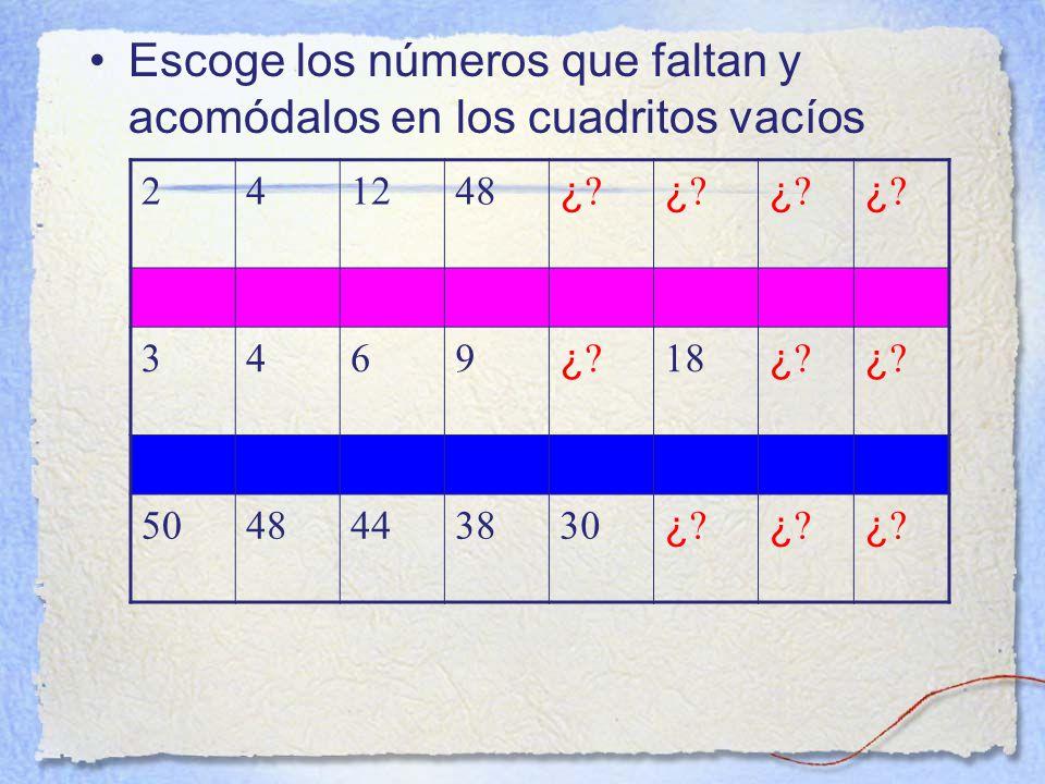 Escoge los números que faltan y acomódalos en los cuadritos vacíos 241248 ¿ ¿.