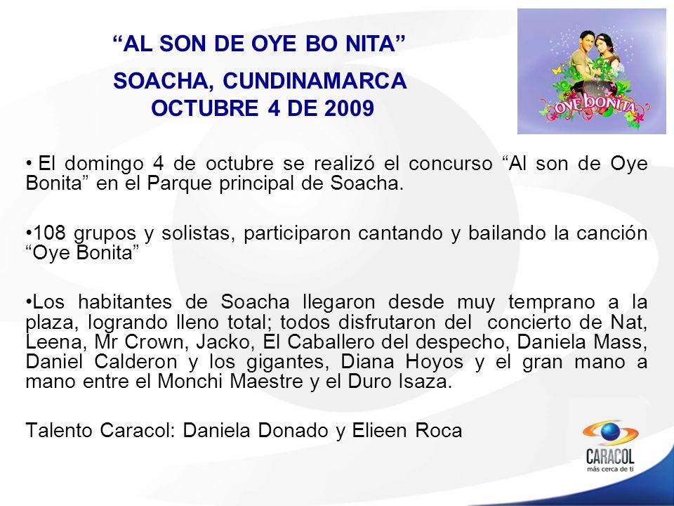 El domingo 4 de octubre se realizó el concurso Al son de Oye Bonita en el Parque principal de Soacha.
