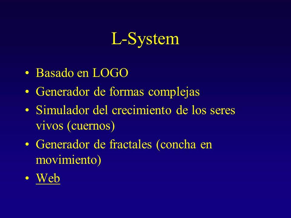 L-System Basado en LOGO Generador de formas complejas Simulador del crecimiento de los seres vivos (cuernos) Generador de fractales (concha en movimiento) Web