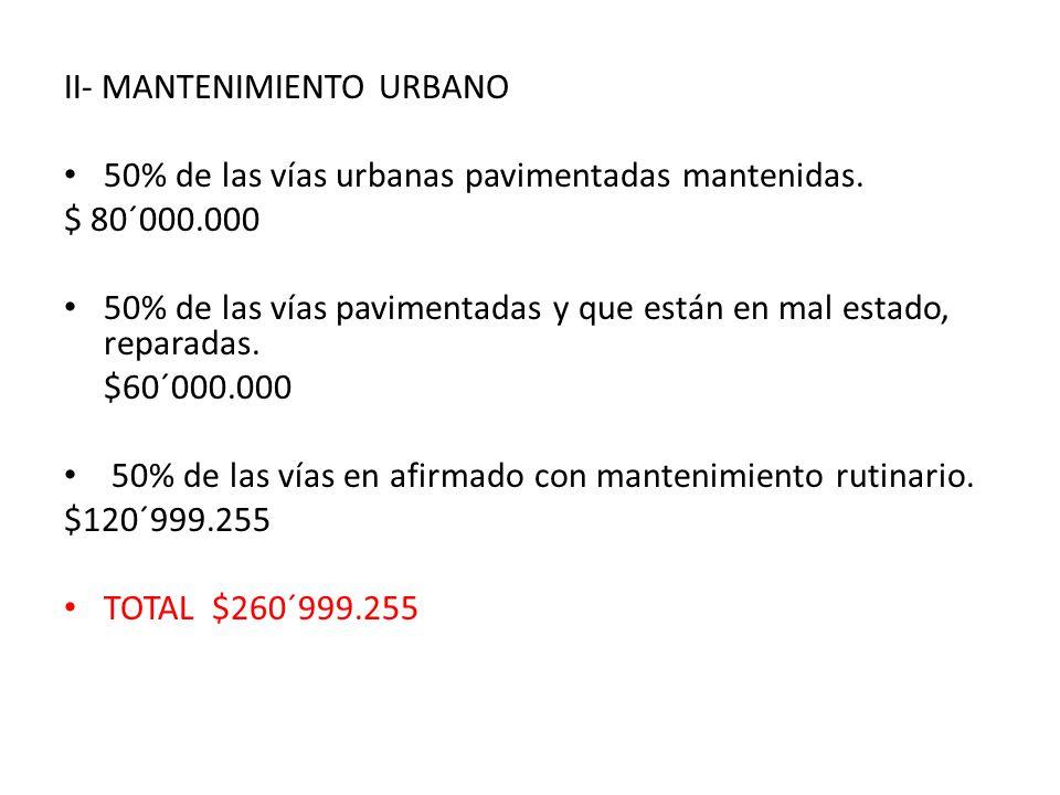 II- MANTENIMIENTO URBANO 50% de las vías urbanas pavimentadas mantenidas.