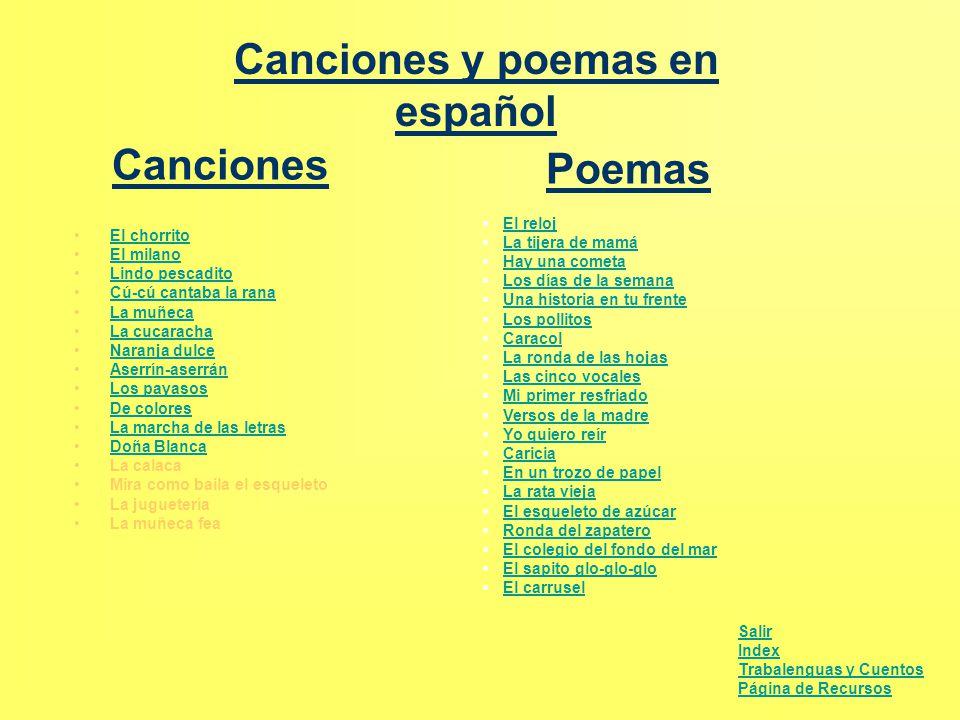 Canciones y poemas en español El chorrito El milano Lindo pescadito Cú-cú Cú-cú cantaba la rana La muñeca La cucaracha Naranja dulce Aserrín-aserránAs