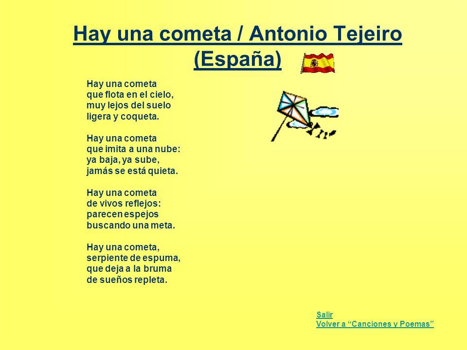 Hay una cometa / Antonio Tejeiro (España) Hay una cometa que flota en el cielo, muy lejos del suelo ligera y coqueta. Hay una cometa que imita a una n