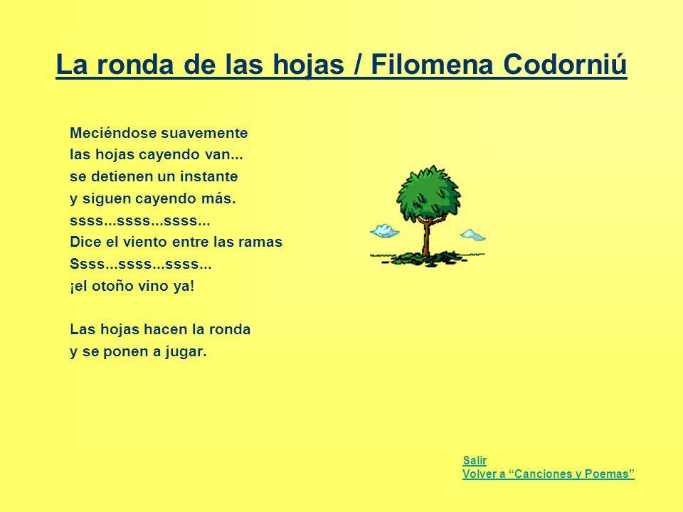 La ronda de las hojas / Filomena Codorniú Meciéndose suavemente las hojas cayendo van... se detienen un instante y siguen cayendo más. ssss...ssss...s