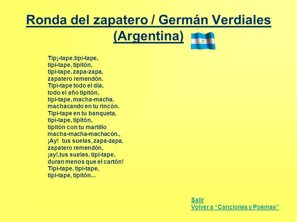 Ronda del zapatero / Germán Verdiales (Argentina) Tip¡-tape,tipi-tape, tipi-tape, tipitón, tipi-tape, zapa-zapa, zapatero remendón. Tipi-tape todo el