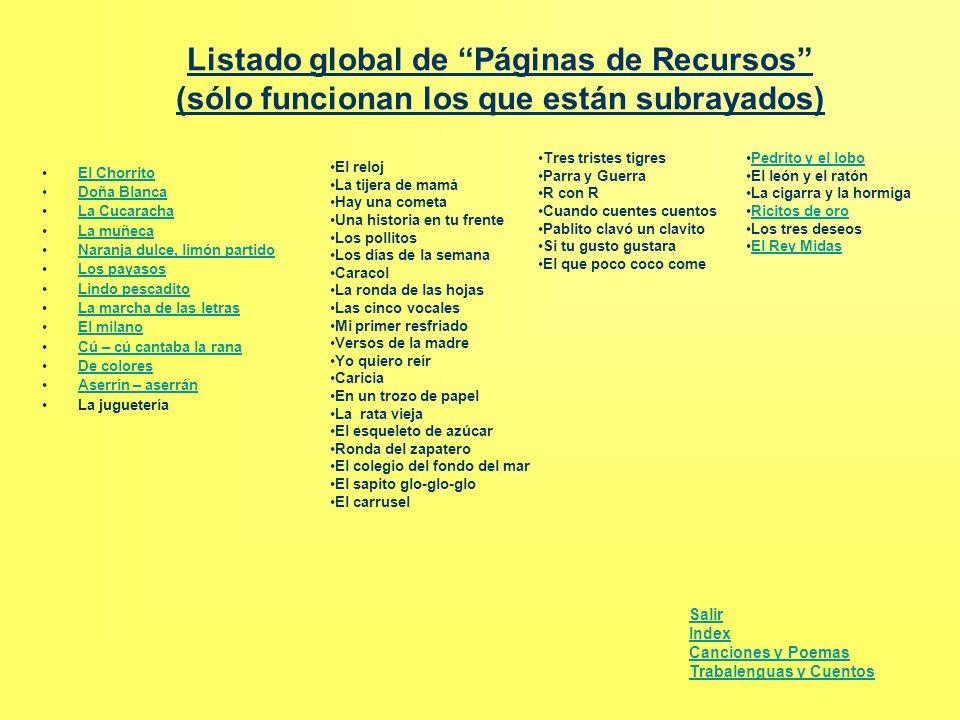 """Listado global de """"Páginas de Recursos"""" (sólo funcionan los que están subrayados) El Chorrito Doña BlancaDoña Blanca La Cucaracha La muñecaLa muñeca N"""