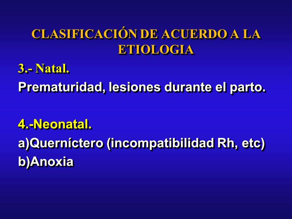 CLASIFICACIÓN DE ACUERDO A LA ETIOLOGIA 3.- Natal.