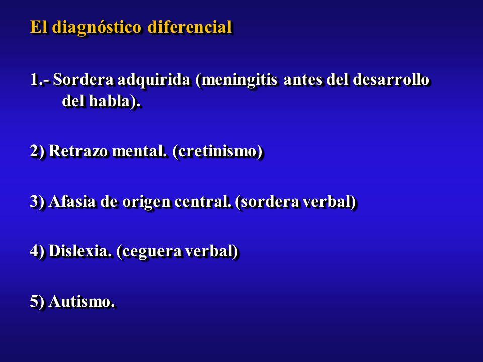 El diagnóstico diferencial 1.- Sordera adquirida (meningitis antes del desarrollo del habla).