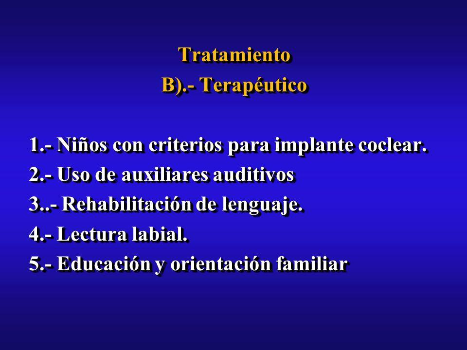 Tratamiento B).- Terapéutico 1.- Niños con criterios para implante coclear.