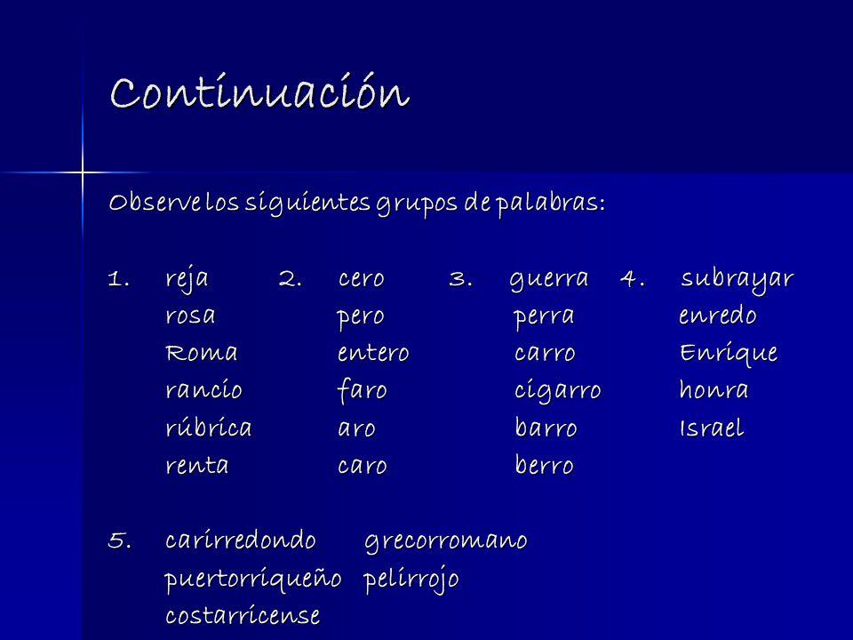 Continuación Observe los siguientes grupos de palabras: 1.reja2.