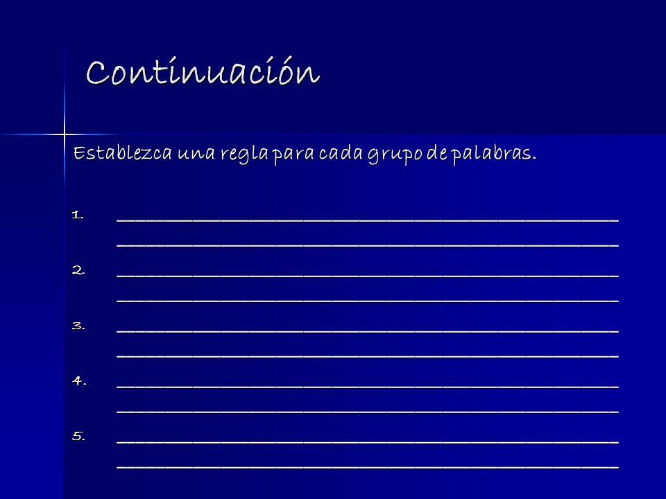 Continuación Establezca una regla para cada grupo de palabras.