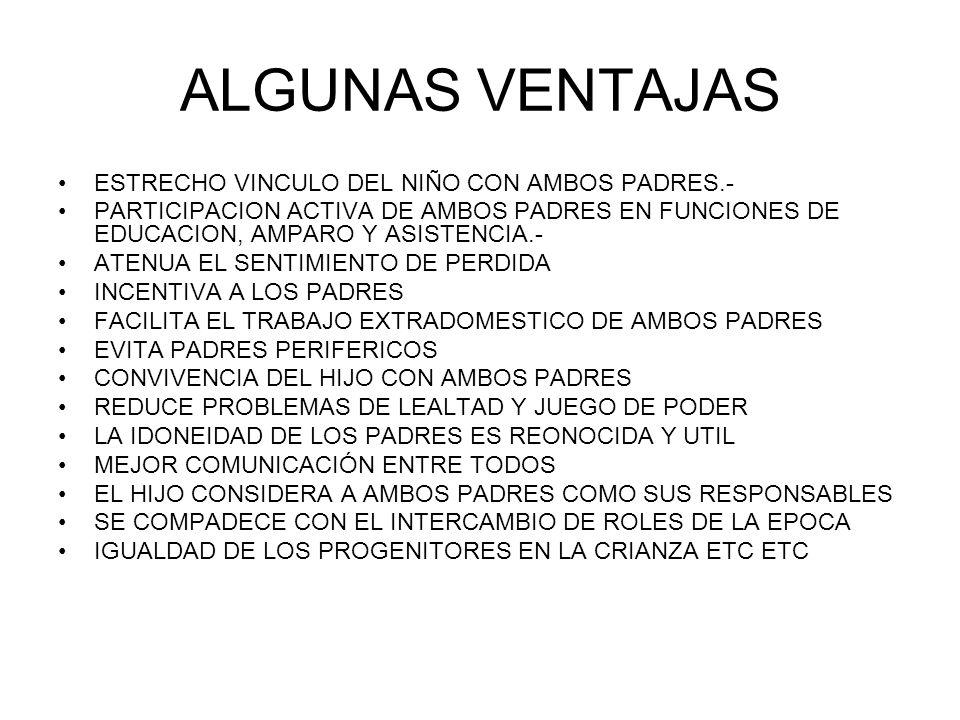 ALGUNAS VENTAJAS ESTRECHO VINCULO DEL NIÑO CON AMBOS PADRES.- PARTICIPACION ACTIVA DE AMBOS PADRES EN FUNCIONES DE EDUCACION, AMPARO Y ASISTENCIA.- ATENUA EL SENTIMIENTO DE PERDIDA INCENTIVA A LOS PADRES FACILITA EL TRABAJO EXTRADOMESTICO DE AMBOS PADRES EVITA PADRES PERIFERICOS CONVIVENCIA DEL HIJO CON AMBOS PADRES REDUCE PROBLEMAS DE LEALTAD Y JUEGO DE PODER LA IDONEIDAD DE LOS PADRES ES REONOCIDA Y UTIL MEJOR COMUNICACIÓN ENTRE TODOS EL HIJO CONSIDERA A AMBOS PADRES COMO SUS RESPONSABLES SE COMPADECE CON EL INTERCAMBIO DE ROLES DE LA EPOCA IGUALDAD DE LOS PROGENITORES EN LA CRIANZA ETC ETC