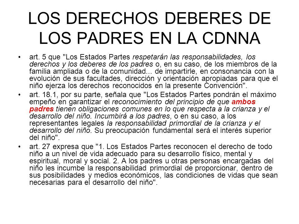 LOS DERECHOS DEBERES DE LOS PADRES EN LA CDNNA art.