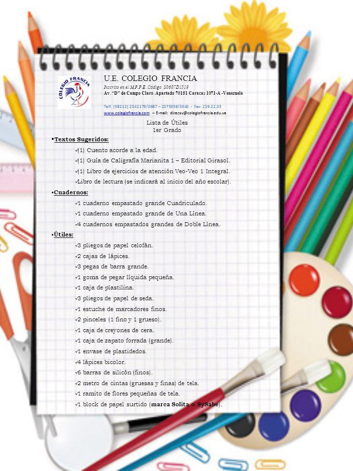 Lista de Útiles 1er Grado  Textos Sugeridos: (1) Cuento acorde a la edad. (1) Guía de Caligrafía Marianita 1 – Editorial Girasol. (1) Libro de ejerci