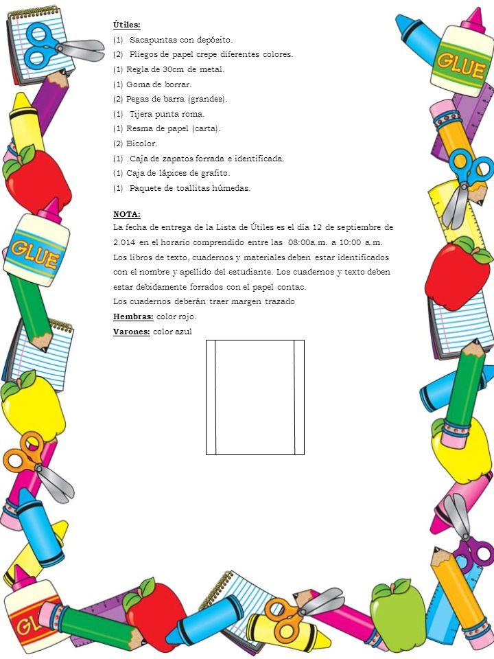 Útiles: (1)Sacapuntas con depósito. (2)Pliegos de papel crepe diferentes colores. (1) Regla de 30cm de metal. (1) Goma de borrar. (2) Pegas de barra (