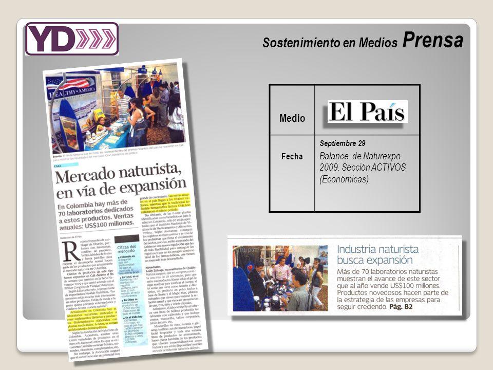 Sostenimiento en Medios Prensa Medio Fecha Septiembre 29 Balance de Naturexpo 2009.