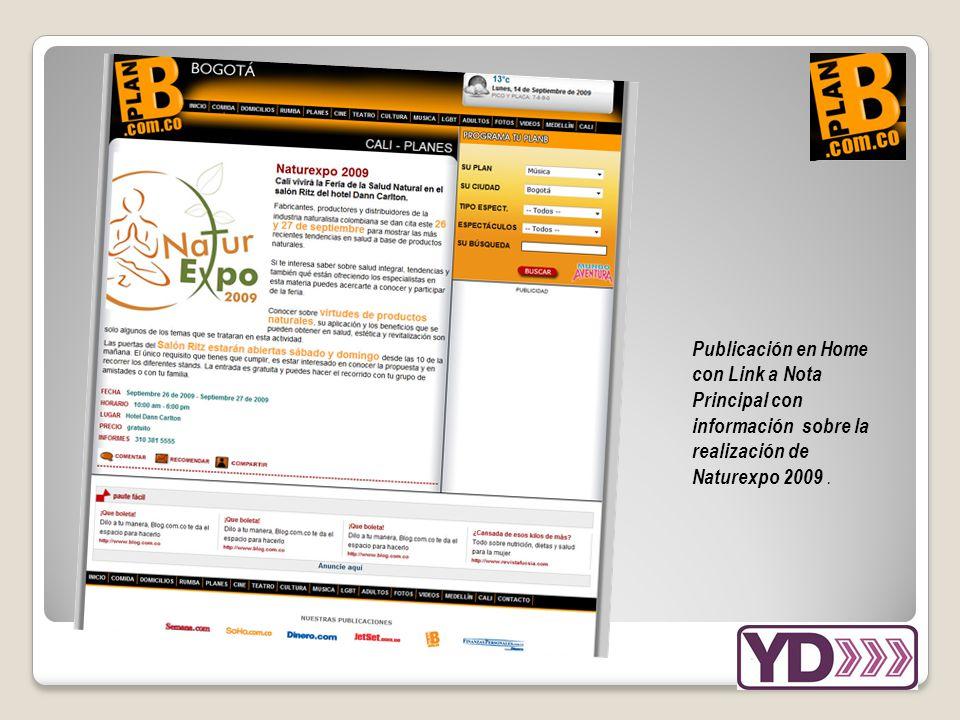 Publicación en Home con Link a Nota Principal con información sobre la realización de Naturexpo 2009.