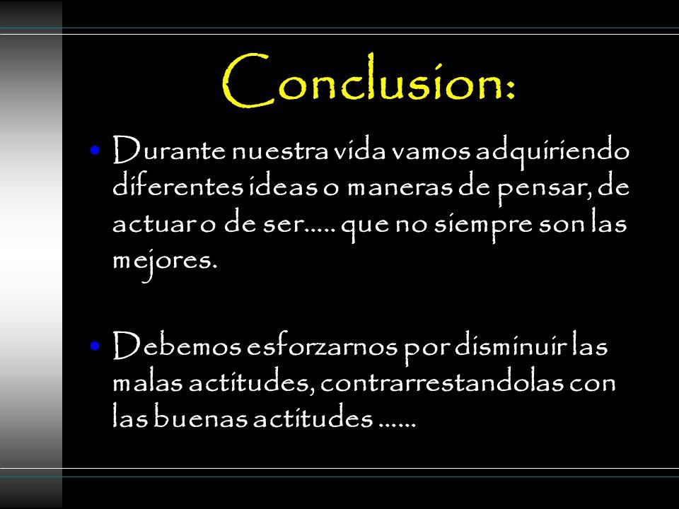 Conclusion: Durante nuestra vida vamos adquiriendo diferentes ideas o maneras de pensar, de actuar o de ser…..